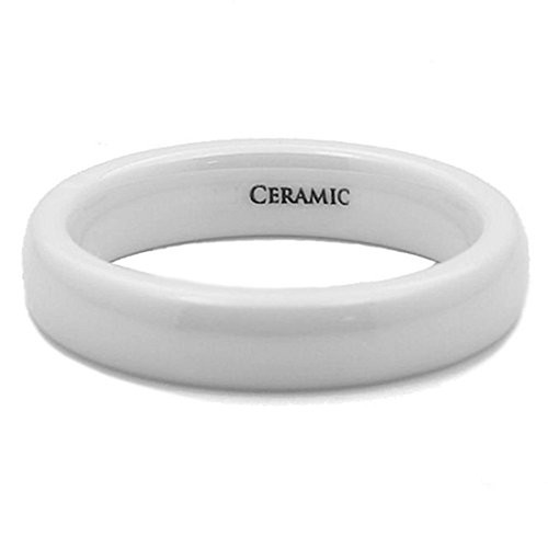 4mm Women S White Ceramic Wedding Ring Band With Polished Domed Top