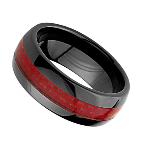 (8mm) Unisex or Men's Ceramic Wedding Ring Bands. Black Ring with Red Carbon Fiber Inlay.