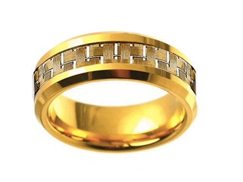 (8mm) Unisex or Men's Tungsten Carbide Wedding Ring Bands. Gold Plated Ring with Gold Tone Carbon Fiber Inlay.