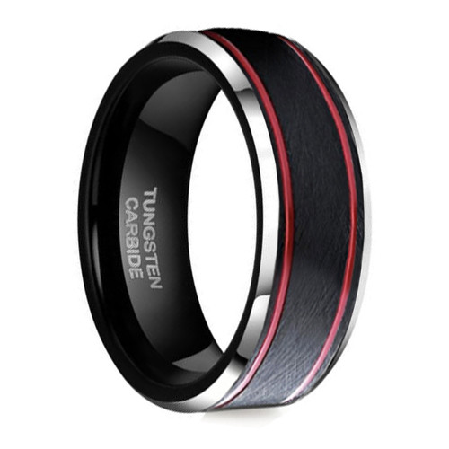 (8mm) Unisex or Men's Tungsten Carbide Wedding Ring Band. Black Matte Top with Two Red Stripes and Beveled Edges.