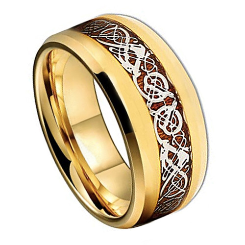 (8mm) Unisex or Men's Titanium Wedding Ring Band. Gold band with Wood Resin Inlay Celtic Knot Ring.