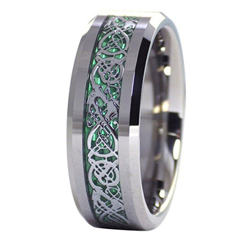 (8mm) Unisex or Men's Tungsten Carbide Wedding Ring Band. Silver Resin Inlay Green Celtic Knot Ring.