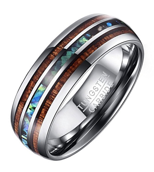 (8mm) Unisex or Men's Tungsten Carbide Wedding ring band - Silver Tone Wood and Rainbow Abalone Shell Inlay Ring.