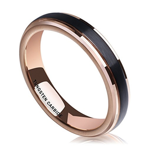 Mens 4mm Black Tungsten Carbide Rings Matte Brushed Engagement Wedding Bands