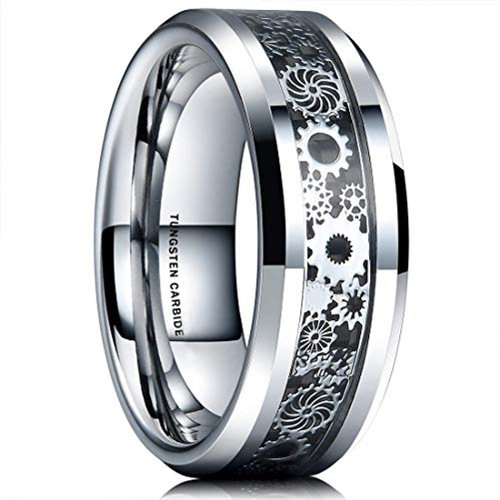 (8mm) Unisex or Men's Tungsten Carbide Wedding Ring Band. Silver Band with Silver Watch Gear Resin Inlay Design Over Black Carbon Fiber.