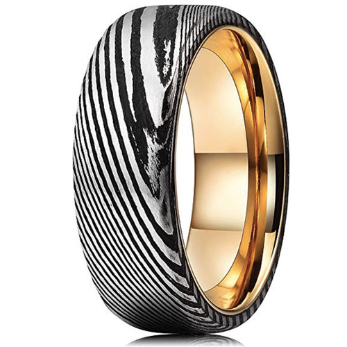 (8mm) Unisex or Men's Damascus Steel Ring with Black and Silver Duo Tone and Rose Gold Inner band. Damascus Wedding Band with Domed Top.