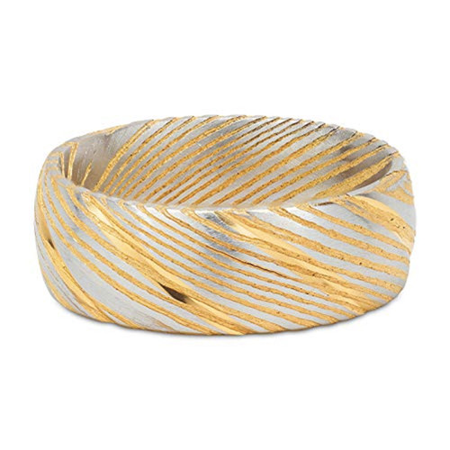 (8mm) Unisex or Men's Damascus Steel Ring with 14K Yellow Gold and Silver Duo Tones. Damascus Wedding Band with Domed Top.