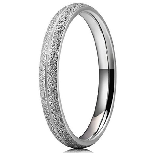 (3mm)  Women's Titanium Wedding ring band. Silver Tone Sand Blasted Matte Frosted Glittery Finish Titanium Ring with Domed Edges