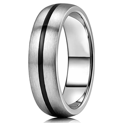 (6mm)  Unisex, Men's or Women's Titanium Wedding Ring - Black Center Grooved Matte Finish Dome Style
