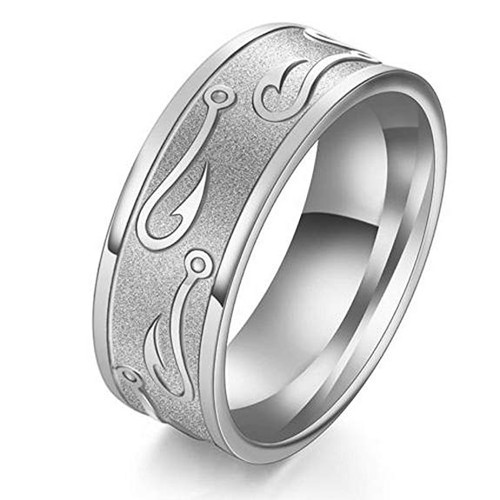 (8mm)  Unisex or Men's Fishing Ring / Fisherman's Wedding ring band. Silver Titanium Band with Embossed Fish Hooks. Wedding ring band Comfort Fit Ring