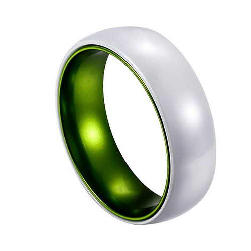 (8mm)  Unisex or Men's Ceramic Wedding ring bands White Band with Green Aluminum Inside. Men's Wedding Ring Domed Top.