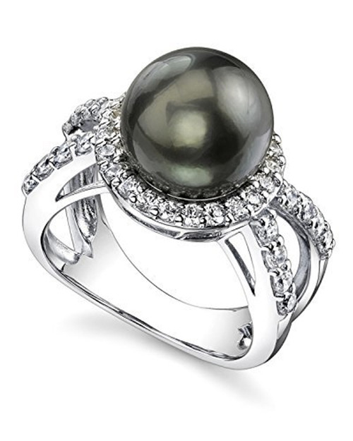 Women's Black Pearl Wedding Ring - Genuine Black Tahitian South Sea Cultured Pearl 10-11mm with Cubic Zirconia for Women (AA)