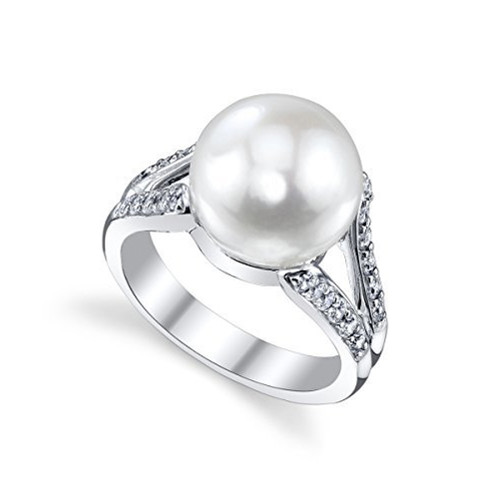 Women's White Pearl Wedding Ring - Genuine Freshwater Cultured Pearl 11-12mm with Cubic Zirconia for Women