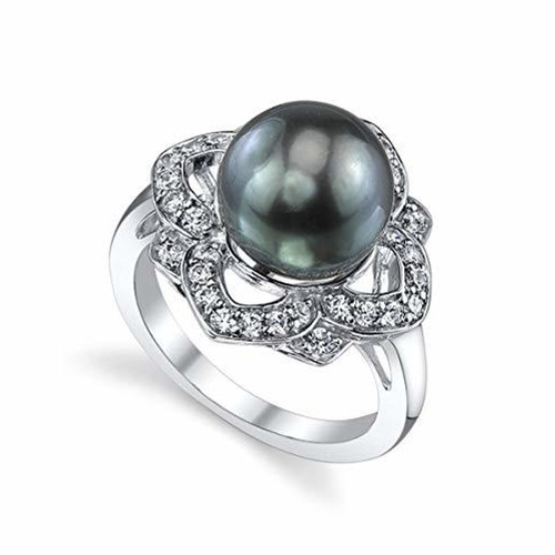 Women's Black Pearl Wedding Ring - Genuine Black Tahitian South Sea Cultured Pearl 10-11mm with Floral Cubic Zirconia for Women (AAA)
