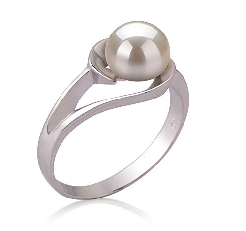 Women's White Pearl Wedding Ring - Genuine Freshwater Cultured Pearl 6-7mm Ring for Women (AAA)