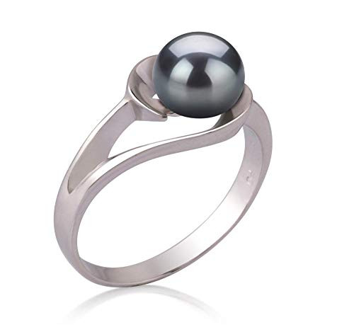 Women's Black Dyed White Pearl Wedding Ring - Genuine Freshwater Cultured Pearl 6-7mm Ring for Women (AAA)