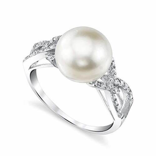 Women's White Pearl Wedding Ring - Genuine Freshwater Cultured Pearl 10-11mm with Looped Cubic Zirconia for Women (AAA)