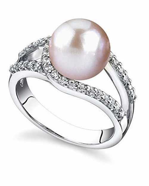 Women's Pink Pearl Wedding Ring - Genuine Freshwater Cultured Pearl 9-10mm Ring for Women (AAA)