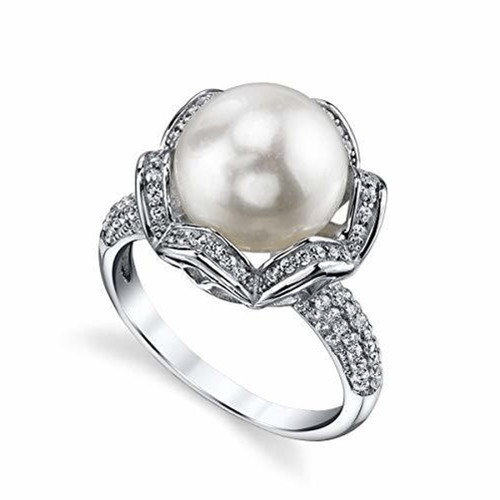 Women's White Pearl Wedding Ring - Genuine Freshwater Cultured Pearl 11-12mm with Zig Zag Cubic Zirconia for Women (AAA)