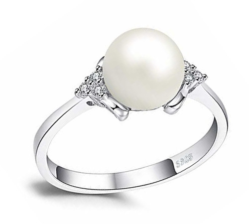 Women's White Pearl Wedding Ring - Genuine Freshwater Cultured Pearl 8mm with Trio Cubic Zirconia for Women (AAA)