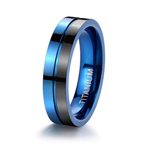 (5mm)  Women's Titanium Wedding ring band. Duo Tone Black and Blue Light Weight and Comfort Fit