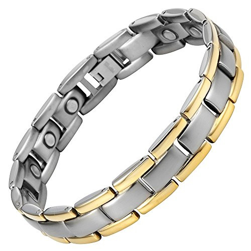 """8.5"""" Inch Length - Men's Titanium Magnetic Bracelet - Silver and Gold Two Tone Adjustable"""