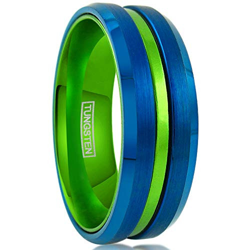 (8mm)  Unisex or Men's Tungsten Carbide Wedding ring band. Blue with Green Groove. Matte Finish Tungsten Carbide Ring. Beveled Edge