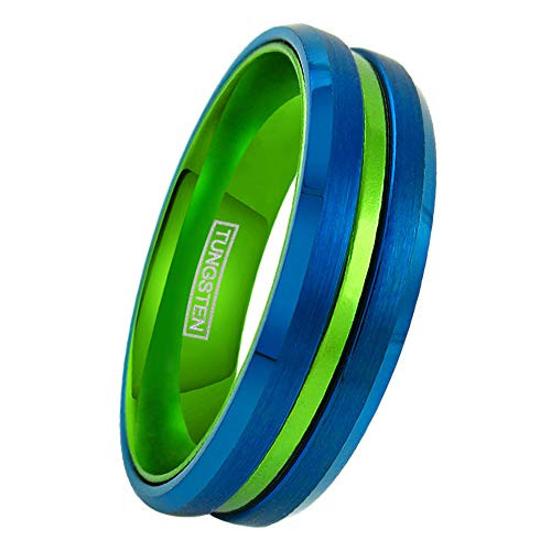 (6mm)  Unisex or Women's Tungsten Carbide Wedding ring band. Blue with Green Groove. Matte Finish Tungsten Carbide Ring. Beveled Edge
