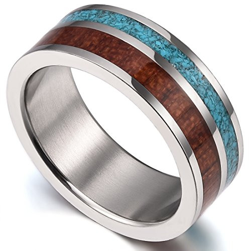 (8mm)  Unisex or Men's Wedding Titanium Wedding ring band. Blue Calaite Turquoise and Wood Inlay. Comfort Fit Tungsten Carbide Ring Wedding Ring Band. Pipe Cut Style