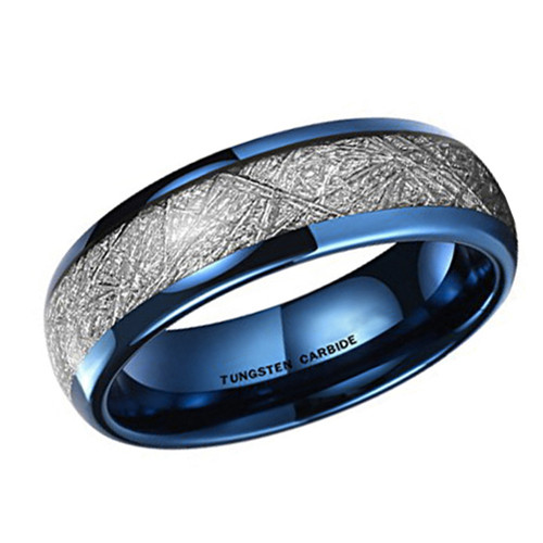 (6mm)  Unisex or Women's Tungsten Carbide Wedding ring band. Blue Tone Ring with Inspired Meteorite. Domed Top Tungsten Carbide Comfort Fit.