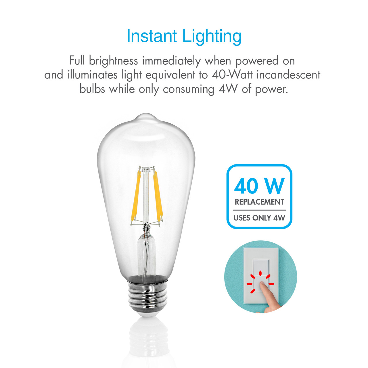 5W Dimmable LED Edison Bulb 2700K (Soft White)