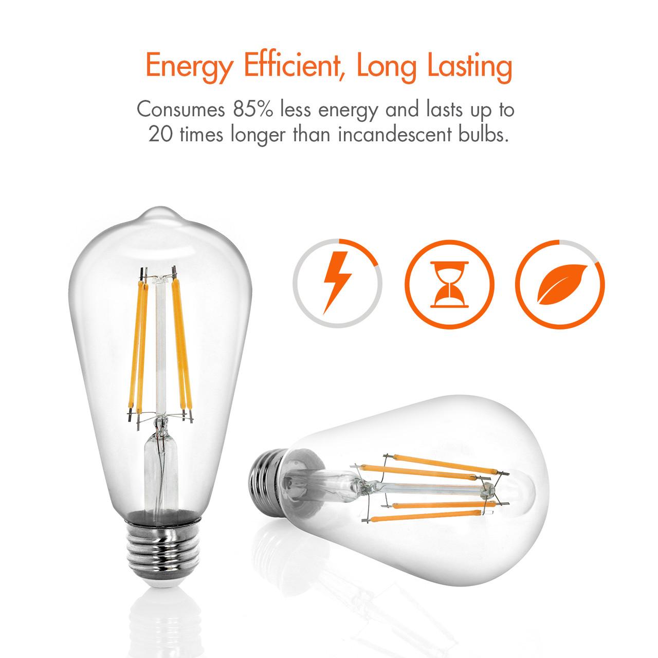8W LED Edison Bulb 2700K (Soft White)