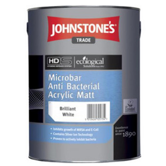 Johnstone's Microbarr Anti Bacterial Acrylic Matt  - Magnolia or Brilliant White 5L