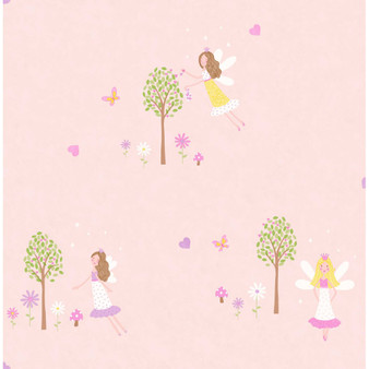Fine Decor Carousel - Fairy Garden Children's Wallpaper Pink - DL21127