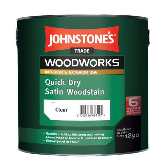 Johnstone's Woodworks quick dry satin woodstain