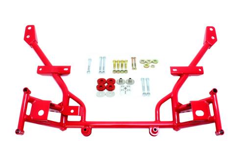 BMR 05-14 S197 Mustang K-Member w/ 1/2in Lowered Motor Mounts and STD. Rack Mounts - Red