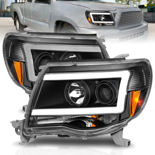 ANZO 05-09 Toyota Tacoma Projector Light Bar Style Headlights w/ C Light Bar