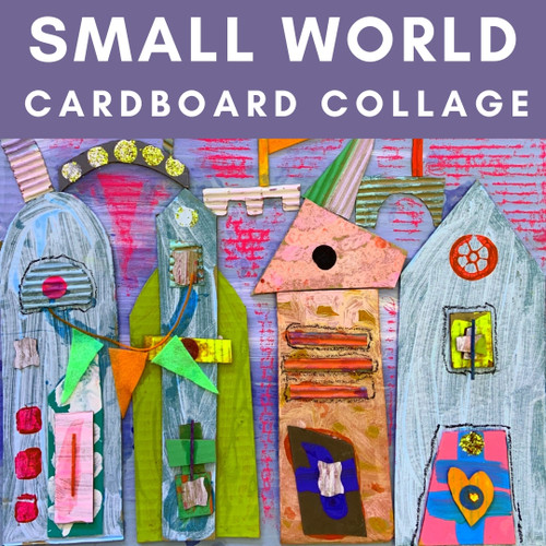 Small World Cardboard Collage - Easy Painting for Kids with our Art Box for Kids | small hands big art