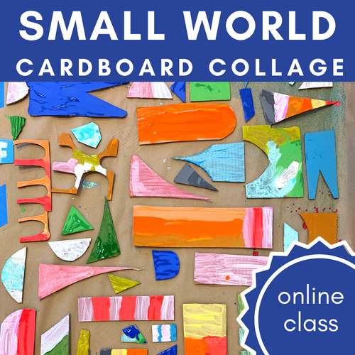 "Step by step online class for how to create a ""small world"" style cardboard relief collage 