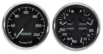 metric military hot rod aircraft gauges dash kph km/h