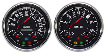 Vintage 60s muscle musclecar gauges metric kph km/h