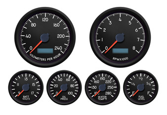 AVIATOR  6 GAUGE KIT 240 kph 3-3/8