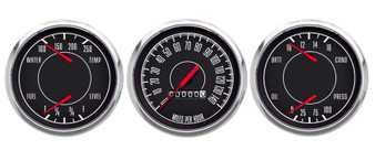 "1967 3 GA 3-7/16"" MECH SPEEDO, DUAL GAUGES BLACK FORD/CHRY"