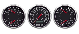 "1967 3 GA 3-7/16""  PROG SPEEDO, DUAL GAUGES BLACK FORD/CHRY"