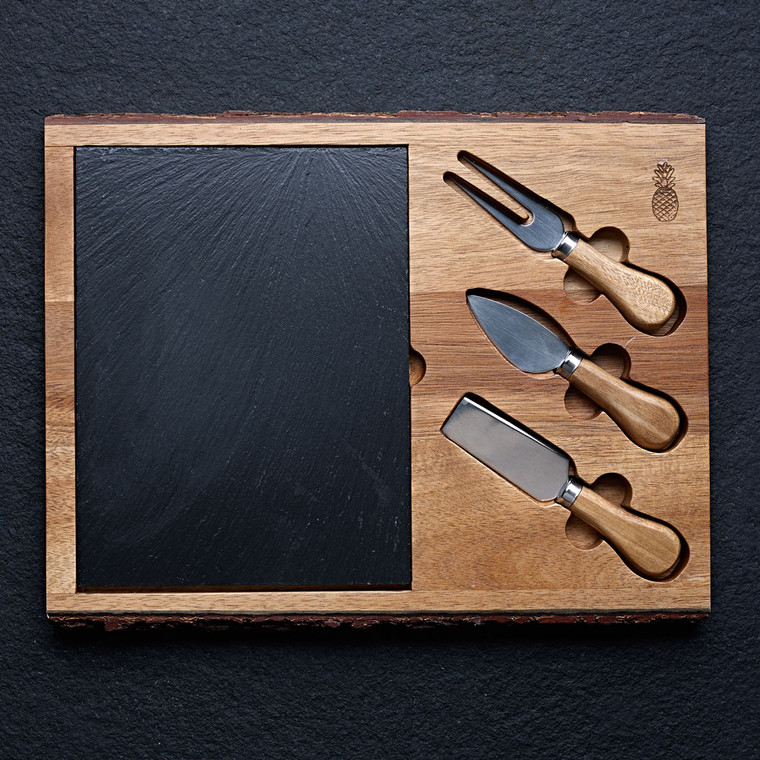 Slate Cheese Board and Knives