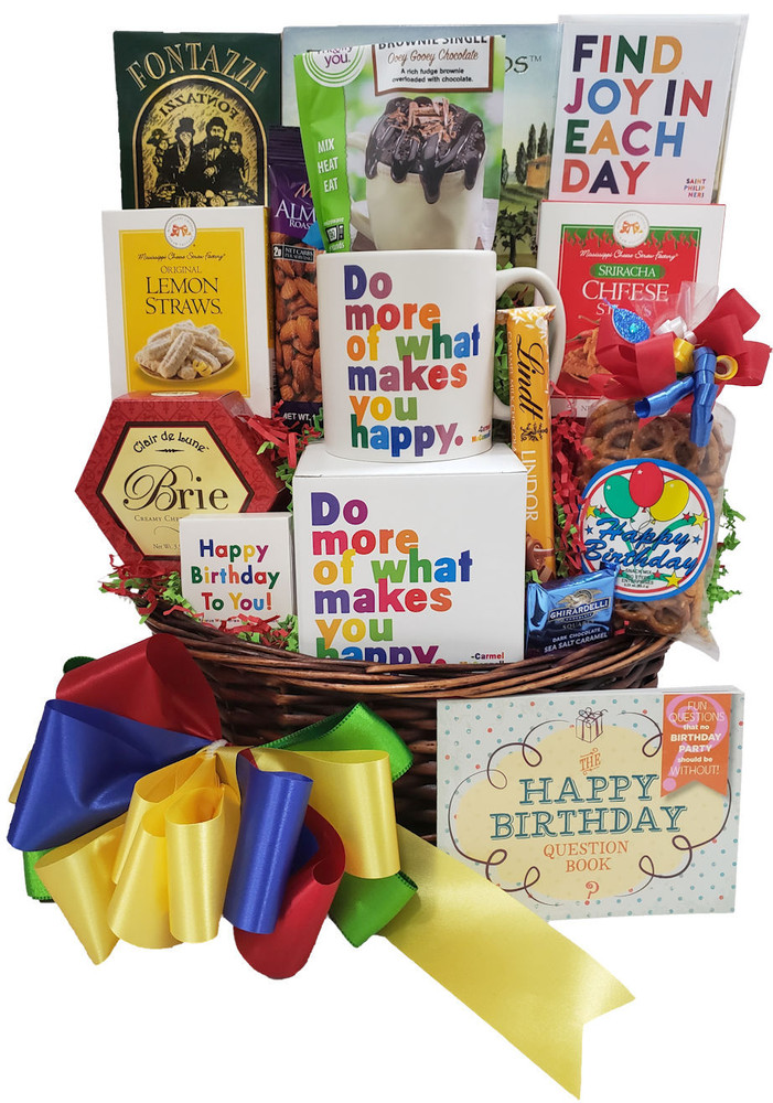 A fun & festive assortment of gifts, snacks and desserts that creates an impromptu birthday party! . Includes:  A colorful ceramic mug with matching gift box Chocolate brownie mix that bakes in mug (one minute in Microwave) Luscious Lemon Cookies Cheese Sticks Pretzels Cheese Crackers Motivation Magnet Birthday Candles Birthday Matches Conversation Starter - Birthday Book Of Questions       (Items of equal or greater value may be substituted, depending on availability, or discovery of great new items.)