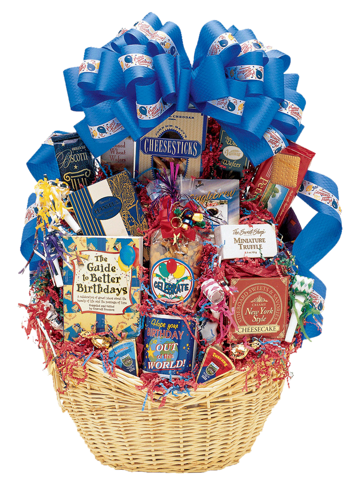 Surprise!  A festive birthday celebration complete with an individual cake and birthday candles, along with a great assortment of gourmet goodies & gifts.  (Items of equal or greater value may be substituted, depending on availability, or discovery of great new items.)