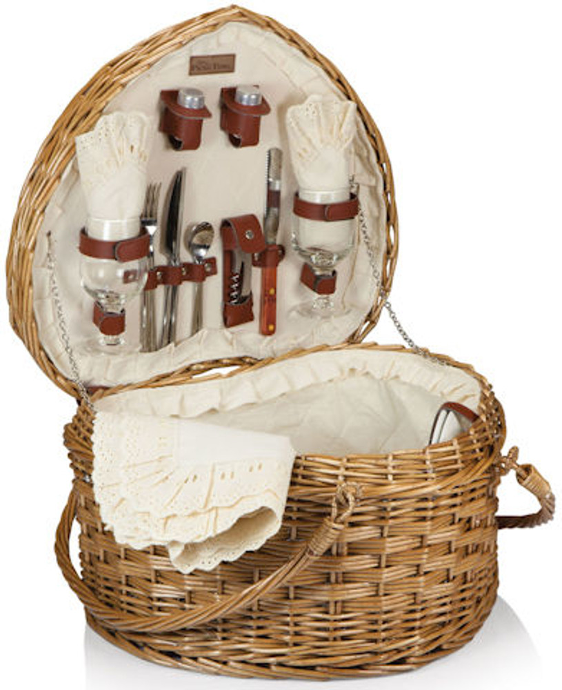 An elegant and unique heart shaped picnic basket that includes service for two, including:  acrylic stemware melamine plates full tang stainless steel flatware a hardwood cutting board cheese knife waiter style corkscrew salt and pepper shakers cotton napkins  white eyelet-trimmed table cloth. Beautifully wrapped with a gorgeous hand made bow. Free ribbon banner This is a great romantic, wedding, anniversary or shower gift, for a lifetime of romantic picnics and beautiful memories.  If you would like to upgrade the gift to include a nice gourmet assortment, chocolates, wine or champagne, etc. please give us a call.