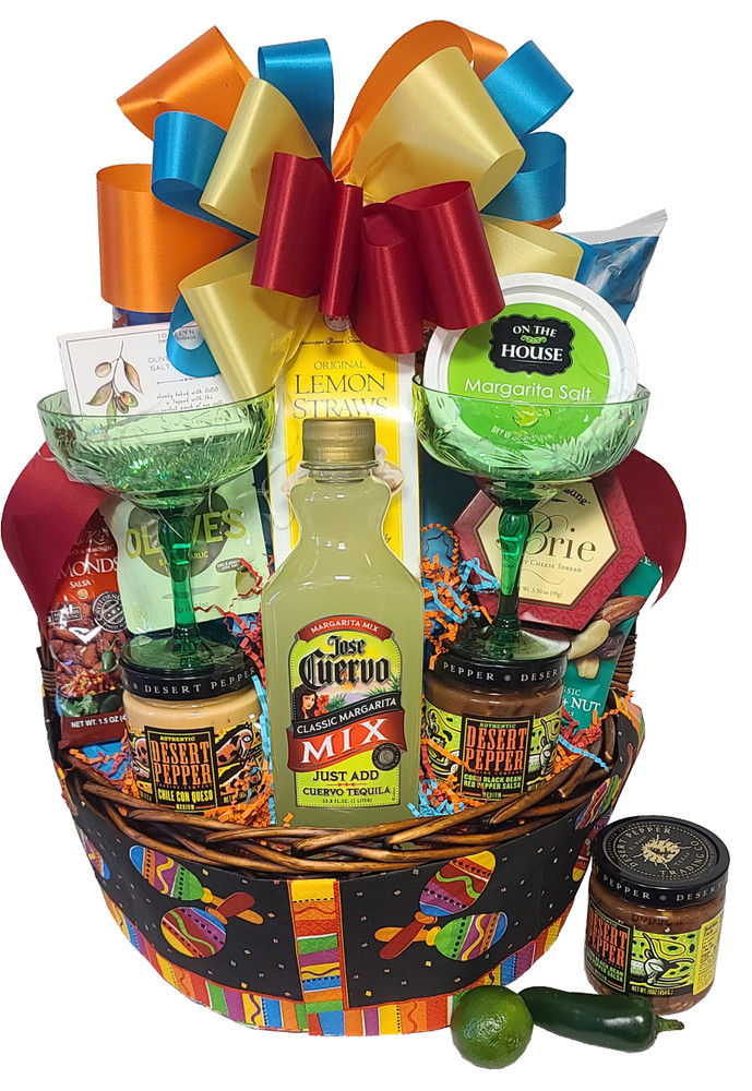 You will be delivering a party with this fun & festive basket! Includes zesty, award-winning, non-fat dips and salsas, chili caramel corn, chocolates, tortilla chips, margarita mix and even a pair of margarita glasses. Great Cinco De Mayo Gift!  (Items of equal or greater value may be substituted, depending on availability, or discovery of great new items.)