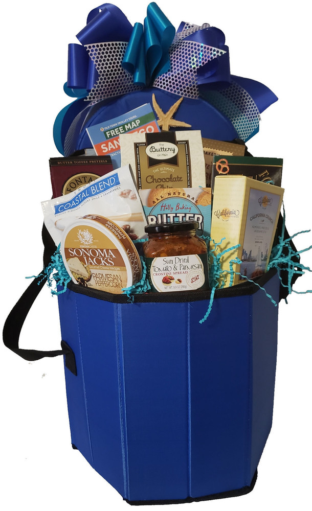 This multi-functional insulated cooler also doubles as a seat strong enough to hold a 300 pound person. It is great for boating, sporting events, outdoor concerts, camping, a day at the beach, picnics and barbecues.  Another great feature is that it folds flat for storage, and has an insulated inner liner that is easily removable for cleaning. The delicious goodies include:Cheese, Foccacia crackers, Fine chocolates and confections, tomato parmesan dip, pretzels, San Diego Snack Mix, Nuts, and a free personalized ribbon banner with a message of your choice.  This gift is shown as a San Diego theme, and it can also be designed as a sports theme, sailing theme, baseball theme, wine theme, golf theme and more.  (Items of equal or greater value may be substituted, depending on availability, or discovery of great new items.)
